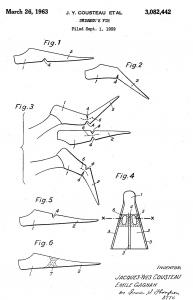 Aleta inventor Cousteau patente US3082442A