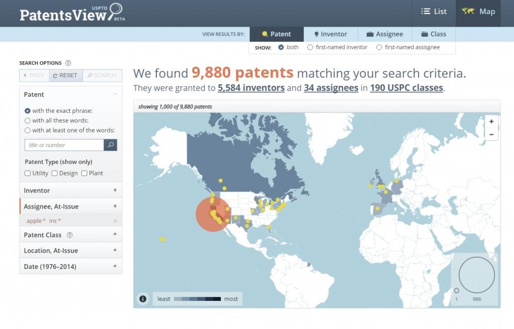 PatentsView pantalla Apple Inc como titular 3